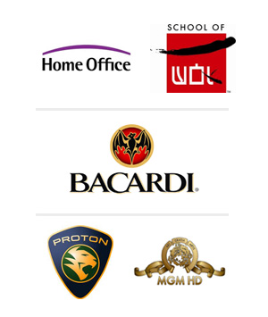 Our clients include Kelloggs, Pringles, Kodak, P&G, MGM, Proton, Eton College