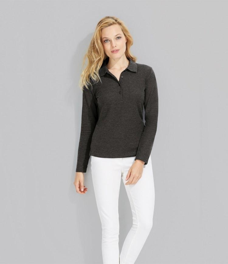 Sol 39 S Ladies Podium Long Sleeve Pique Polo Shirt Fire Label