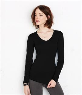 Bella Sheer Rib Long Sleeve V Neck T-Shirt
