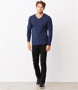 Canvas Triblend Long Sleeve V Neck T-Shirt