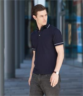 Henbury Contrast Single Tipped Pique Polo Shirt