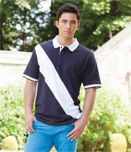 Front Row Diagonal Stripe House Cotton Pique Polo Shirt