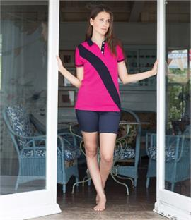 Front Row Ladies Diagonal Stripe House Cotton Pique Polo Shirt