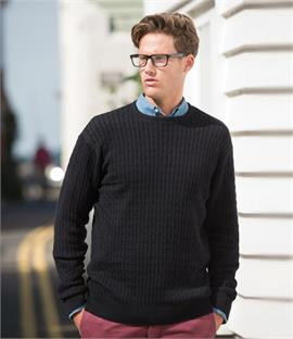 Front Row Cable Knit Crew Neck Jumper