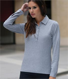 Skinnifit Ladies Long Sleeve Stretch Polo Shirt