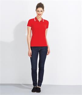 SOLS Ladies Pasadena Tipped Pique Polo Shirt