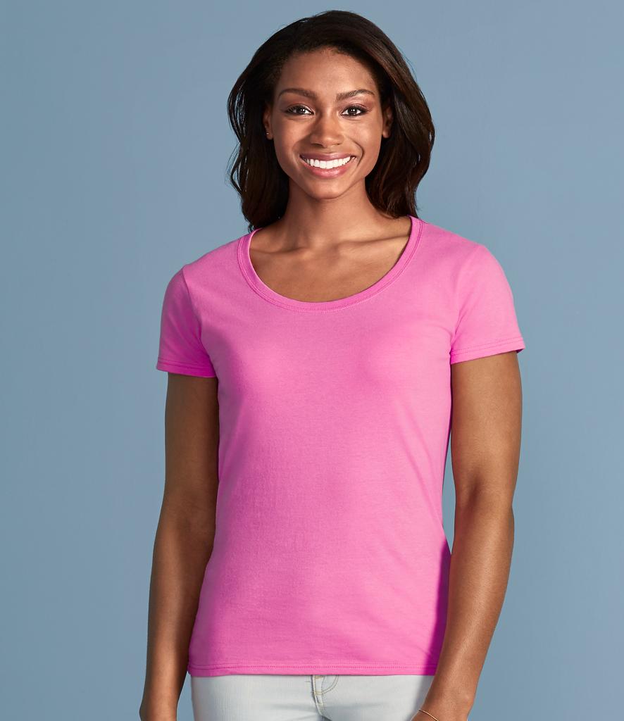 Gildan ladies softstyle deep scoop t shirt fire label for Deep scoop neck t shirt