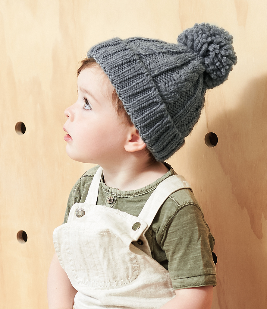 ceb7231bc98 Beechfield Infant Cable Knit Melange Beanie - Fire Label