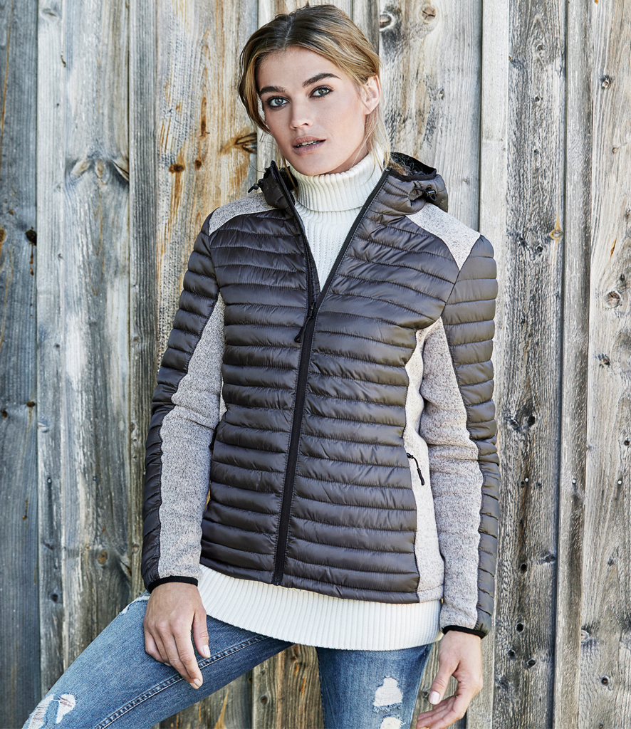 97940a51dd5 Tee Jays Ladies Crossover Hooded Padded Outdoor Jacket