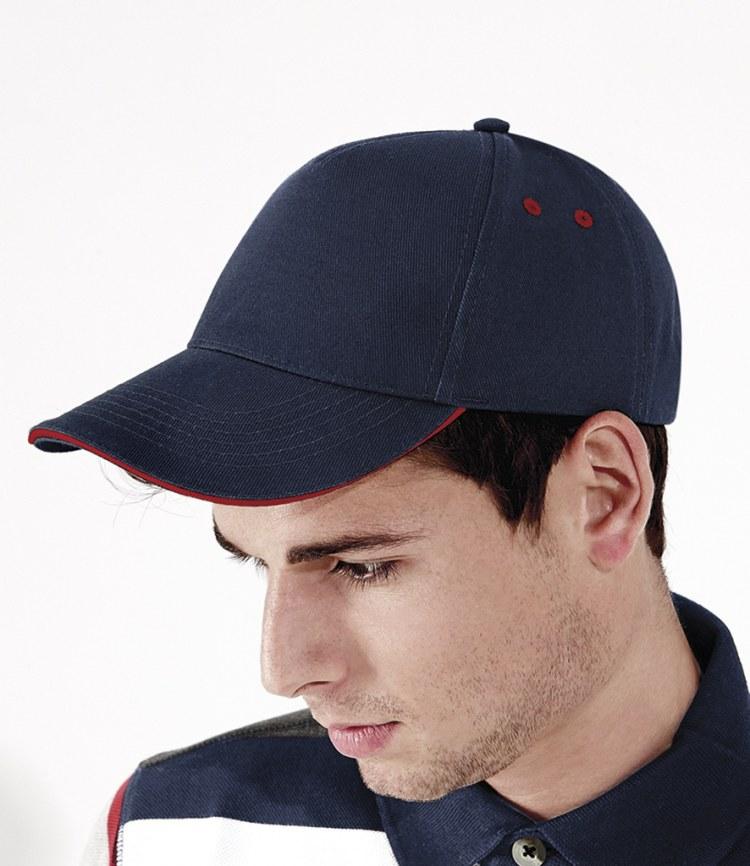064b603ee8210a Beechfield Ultimate Cotton Cap with Sandwich Peak - Fire Label