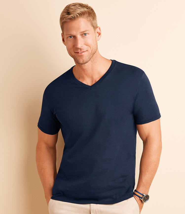 Gildan softstyle v neck t shirts fire label for Gildan v neck t shirts for men