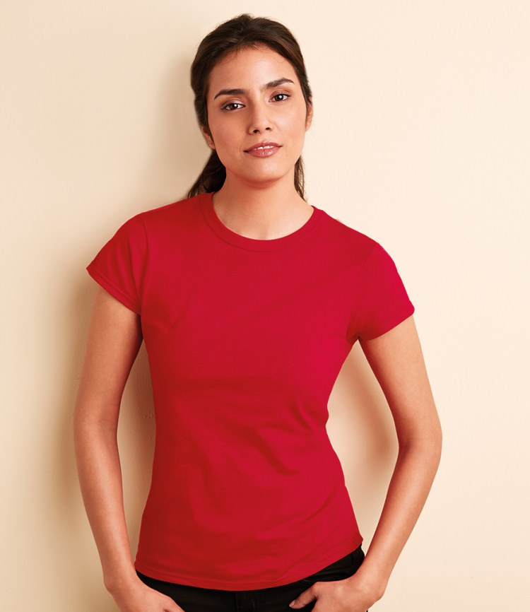 Gildan softstyle ladies fitted ringspun t shirts fire label for What is a fitted t shirt