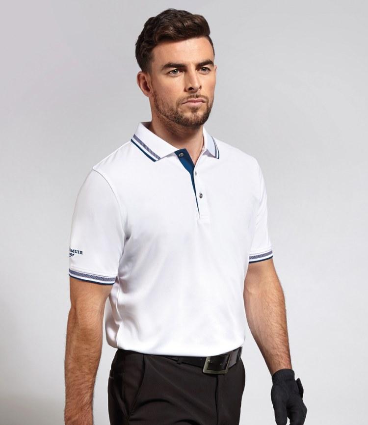 b05584079383 Glenmuir Golf Tipped Piqué Polo Shirt - Fire Label