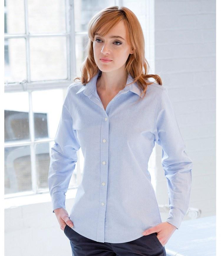 Henbury Womens Classic Long Sleeved Oxford Shirt 8-22 Light Blue or White