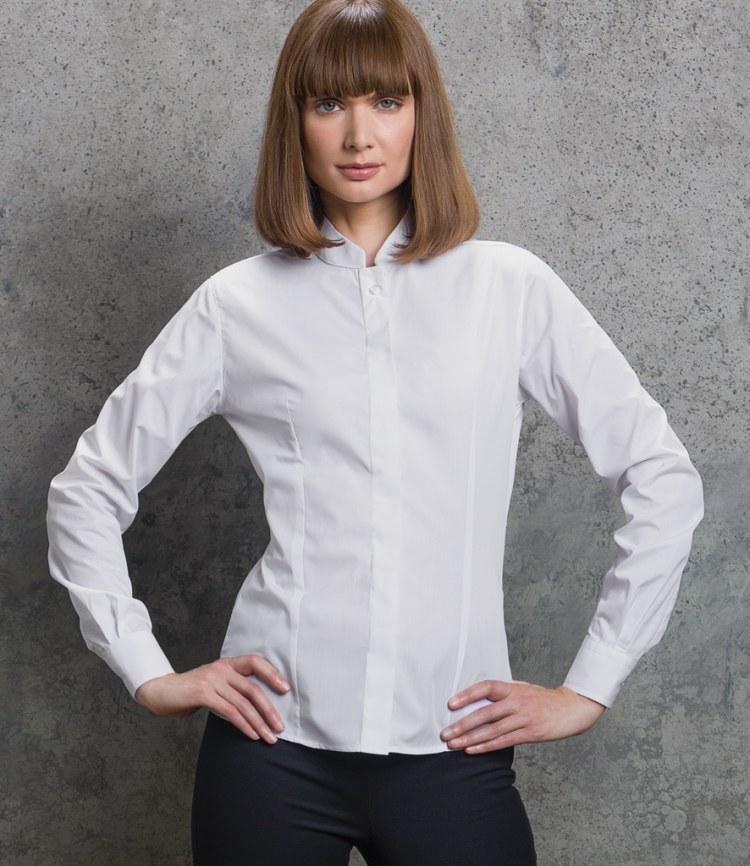f307b93f6feb Kustom Kit Ladies Long Sleeve Mandarin Collar Shirt - Fire Label