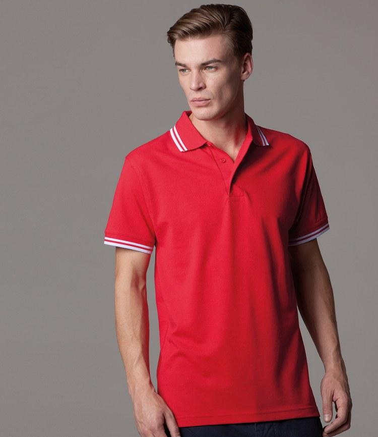 4a71d0c8e343da Kustom Kit Contrast Tipped Pique Polo Shirt - Fire Label