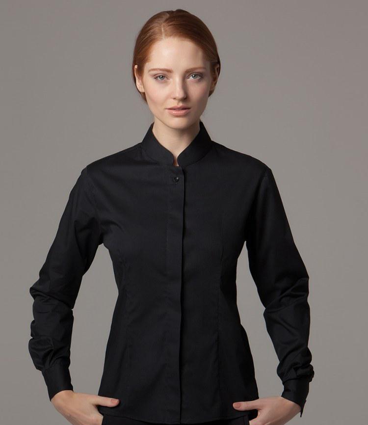 9ba5d48ea9ef Kustom Kit Bargear Ladies Long Sleeve Mandarin Collar Shirt - Fire Label