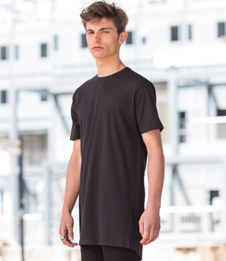 f8a3b210 Skinnifit Men Longline T-Shirt With Dipped Hem - Fire Label