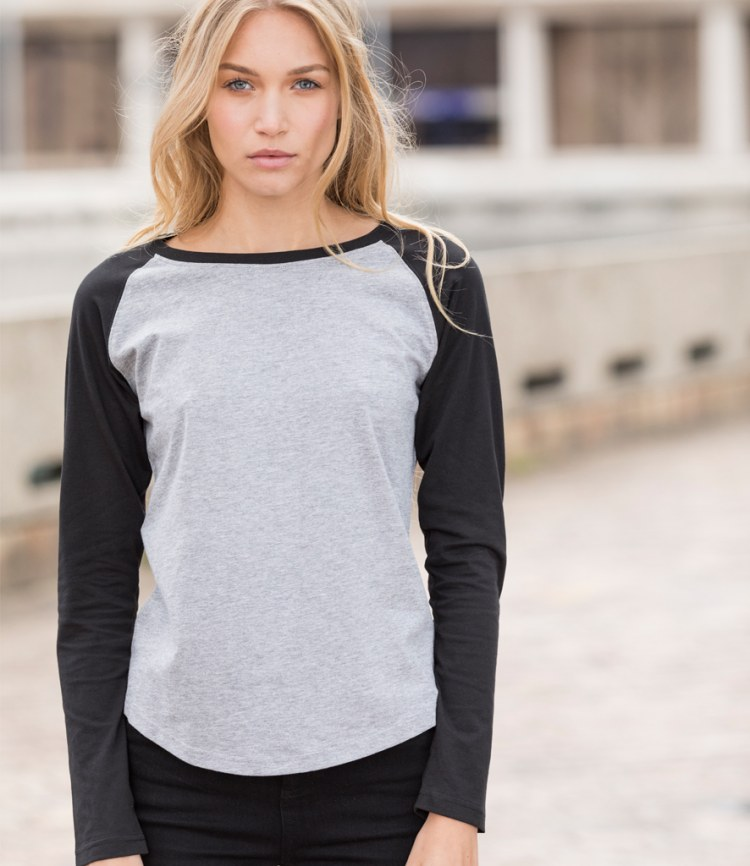 e320e147 SF Ladies Long Sleeve Baseball T-Shirt - Fire Label