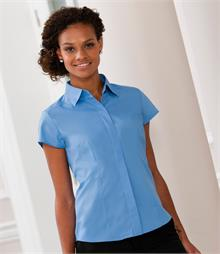 Soft, classic collar Fitted style with back, front and bust darts Matching colour buttons Concealed placket Curved hem Available in long sleeves 924F and 3/4 sleeves 926F