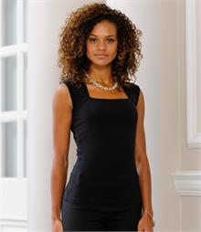 Single jersey Square neckline  Double layer hidden support Shaped side seams Longer length WRAP Certified Production