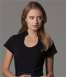 Fitted style with shaped side seams Keyhole neckline Mandarin collar Self fabric bound front neck Twin needle cuffs and hem