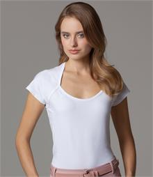 Fitted style with shaped side seams Self fabric bound scoop neckline Twin needle stitched hem and cuffs