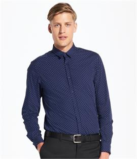 SOLS Becker Polka Dot Long Sleeve Poplin Shirt