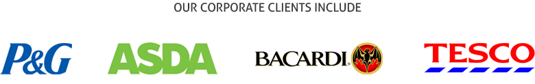 Corporate clients - including Proctor and Gamble, Bacardi, Tesco and Asda