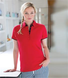Front Row Ladies Contrast Pique Polo Shirt