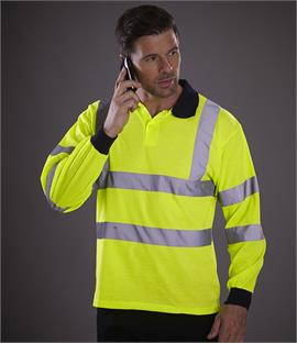 Yoko Hi-Vis Long Sleeve Polo Shirt