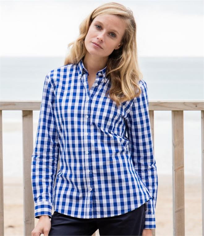 DISCONTINUED - Front Row Ladies Long Sleeve Checked Cotton Shirt