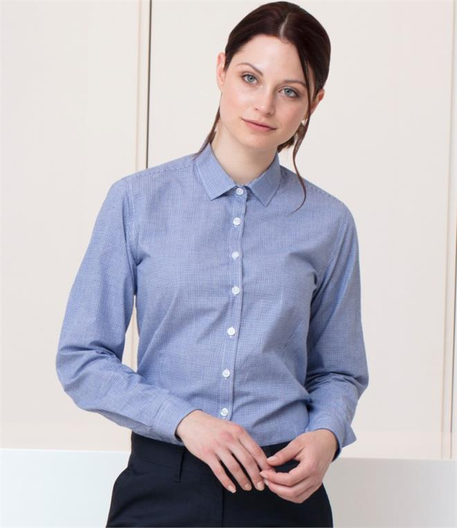 DISCONTINUED - Henbury Ladies Gingham Long Sleeve Shirt