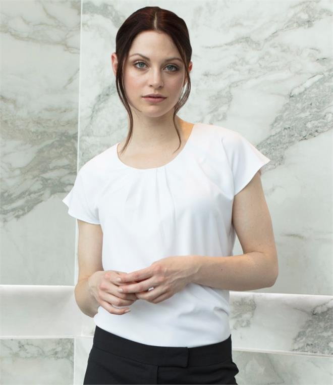 Henbury Ladies Pleat Front Short Sleeve Shirt