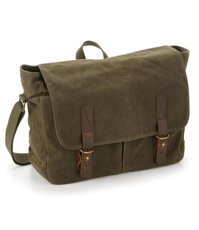 Quadra Heritage Waxed Canvas Messenger