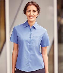 Russell Collection Ladies Short Sleeve Easy Care Cotton Poplin Shirt