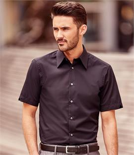Russell Collection Short Sleeve Tencel Fitted Shirt