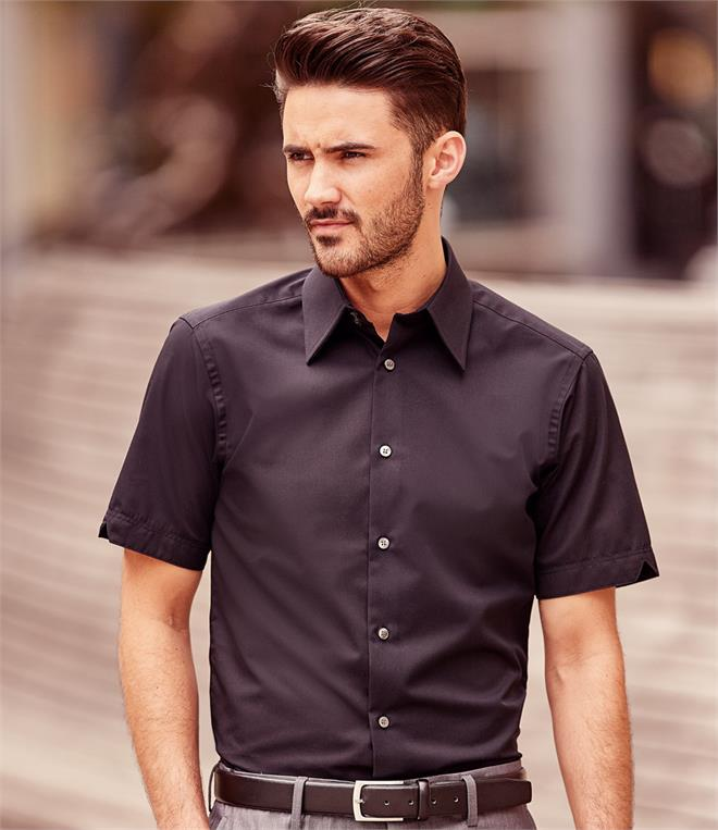 DISCONTINUED - Russell Collection Short Sleeve Tencel Fitted Shirt