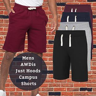 New Awdis Campus Shorts Deep Ribbed Waistband Flat Draw cord Mens Jogging Shorts
