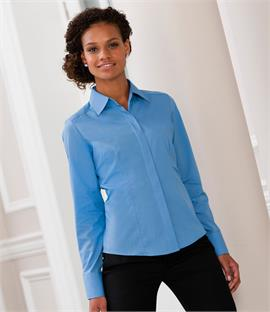Russell Collection Ladies Long Sleeve Fitted Poplin Shirt