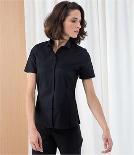 Henbury Ladies Short Sleeve Stretch Poplin Shirt