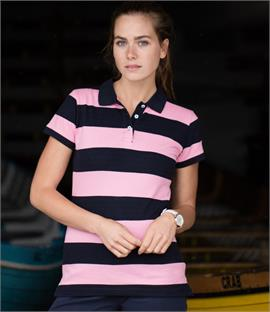 Front Row Ladies Striped Cotton Pique Polo Shirt