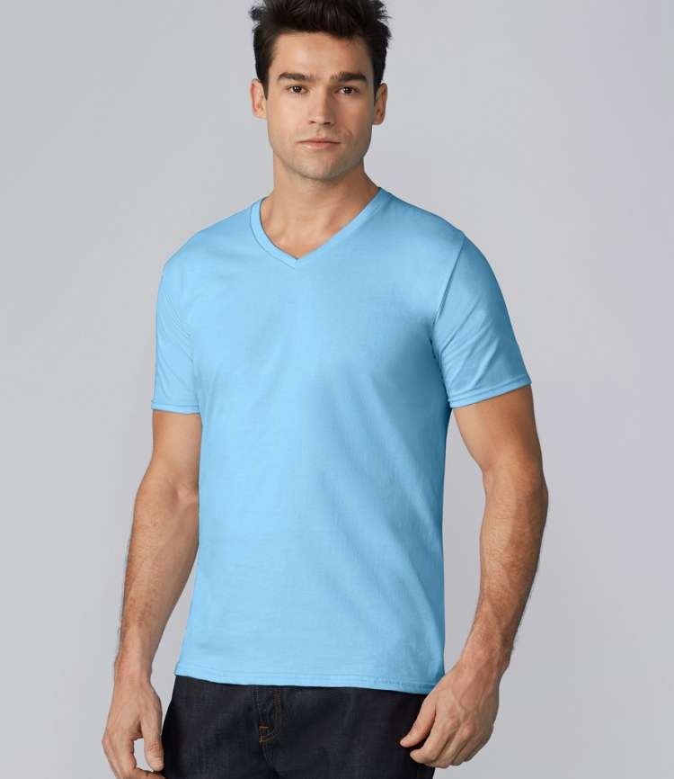 Gildan premium cotton v neck t shirt fire label for Gildan v neck t shirts for men
