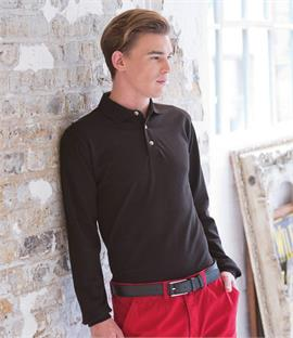 Henbury Long Sleeve Classic Pique Polo Shirt