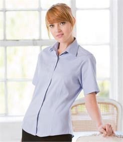 Henbury Ladies Short Sleeve Oxford Shirt