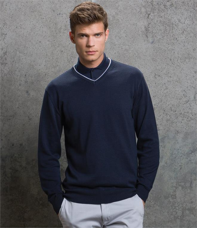 DISCONTINUED - Kustom Kit Contrast Arundel V Neck Sweater