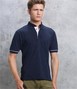 Kustom Kit Button Down Collar Contrast Pique Polo Shirt