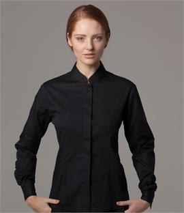Kustom Kit Bargear Ladies Long Sleeve Mandarin Collar Shirt