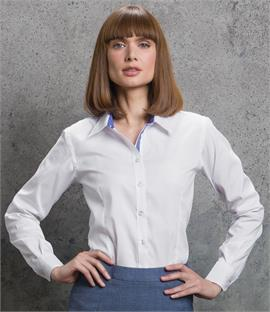 Kustom Kit Ladies Long Sleeve Contrast Premium Oxford Shirt