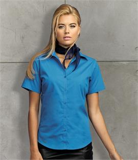 Premier Ladies Short Sleeve Poplin Blouse